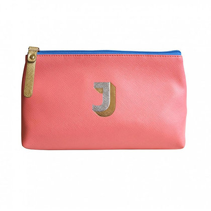 Make Up Bag with metallic letter 'J' – Coral