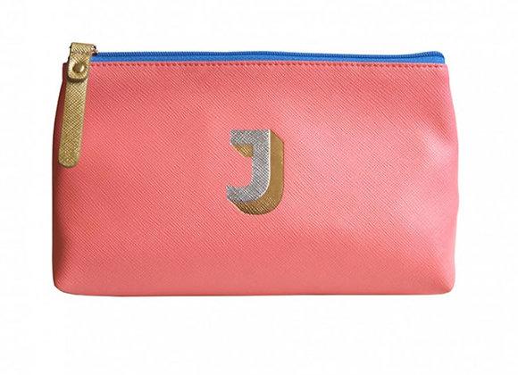 Monogrammed Make Up Bag with metallic letter 'J' – Coral