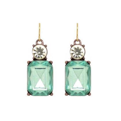 Crystal Drop Earrings - Aqua