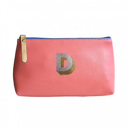 Make Up Bag with metallic letter 'D' – Coral