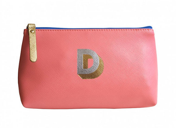 Monogrammed Make Up Bag with metallic letter 'D' – Coral