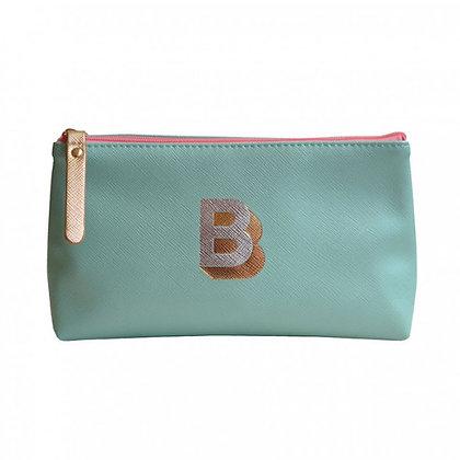 Make Up Bag with metallic letter 'B' - Aqua