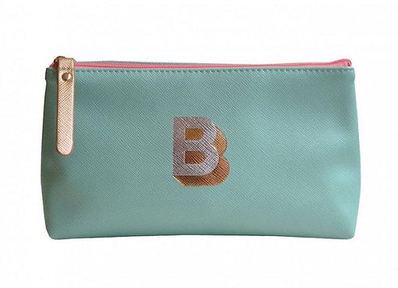 Monogrammed Make Up Bag with metallic letter 'B' - Aqua