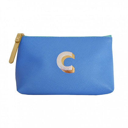 Make Up Bag with metallic letter 'C' - Cornflower