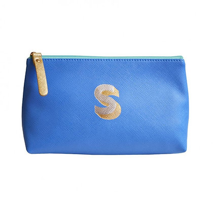 Make Up Bag with metallic letter 'S' - Cornflower