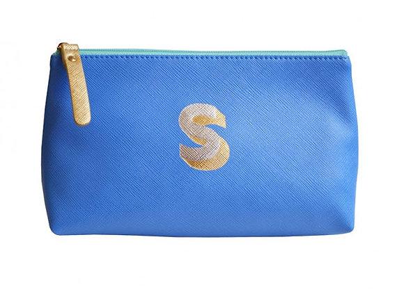 Monogrammed Make Up Bag with metallic letter 'S' - Cornflower
