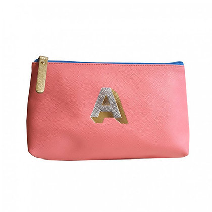 Make Up Bag with metallic letter 'A' - Coral