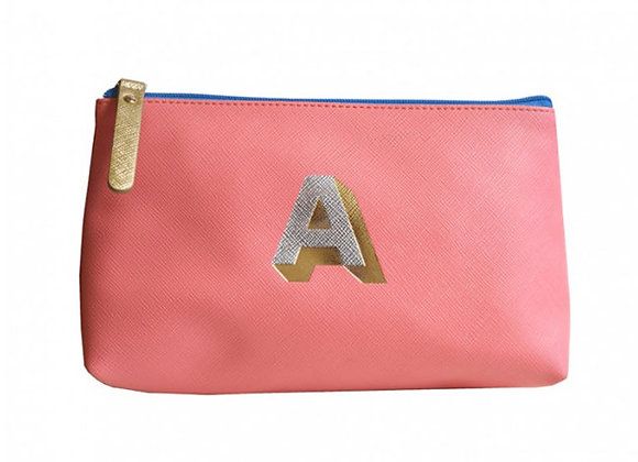 Monogrammed Make Up Bag with metallic letter 'A' - Coral