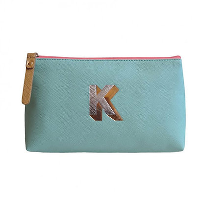 Make Up Bag with metallic letter 'K' – Aqua