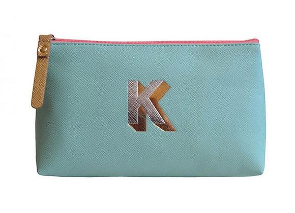 Monogrammed Make Up Bag with metallic letter 'K' – Aqua