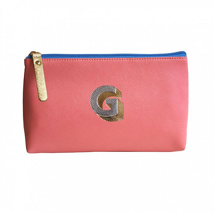 Make Up Bag with metallic letter 'G' – Coral