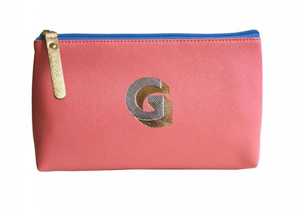 Monogrammed Make Up Bag with metallic letter 'G' – Coral