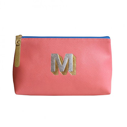 Make Up Bag with metallic letter 'M' – Coral