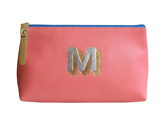 Monogrammed Make Up Bag with metallic letter 'M' – Coral