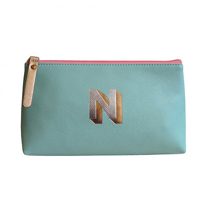 Make Up Bag with metallic letter 'N' – Aqua