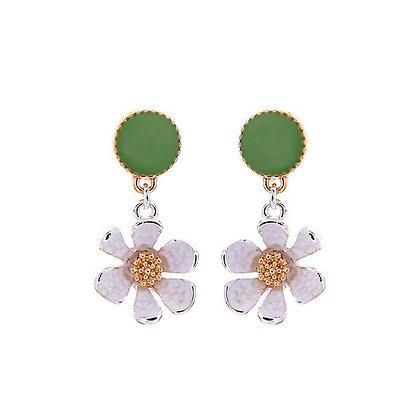 Enamel Daisy Earrings - White and Green