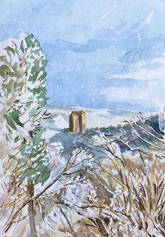 Neidpath Castle in Snow