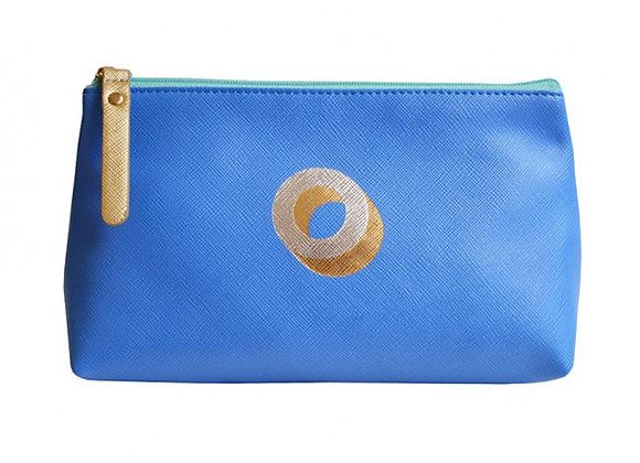 Monogrammed Make Up Bag with metallic letter 'O' - Cornflower