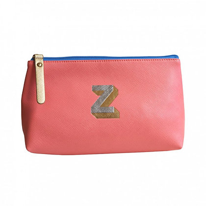 Make Up Bag with metallic letter 'Z' – Coral