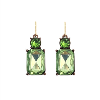 Crystal Drop Earrings - Lime