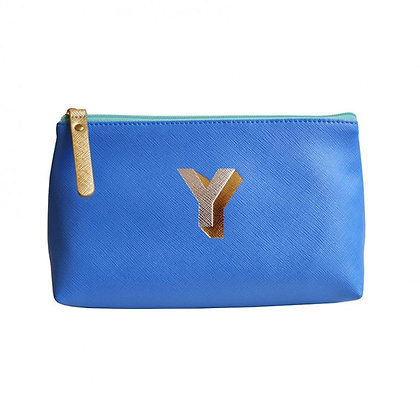 Make Up Bag with metallic letter 'Y' - Cornflower