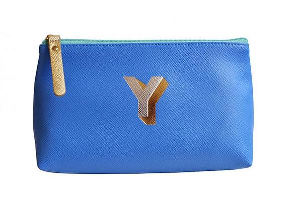 Monogrammed Make Up Bag with metallic letter 'Y' - Cornflower