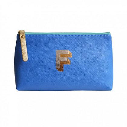 Make Up Bag with metallic letter 'F' - Cornflower