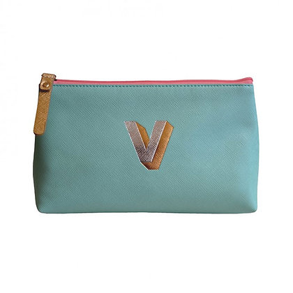 Make Up Bag with metallic letter 'V' – Aqua