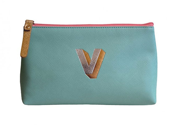 Monogrammed Make Up Bag with metallic letter 'V' – Aqua