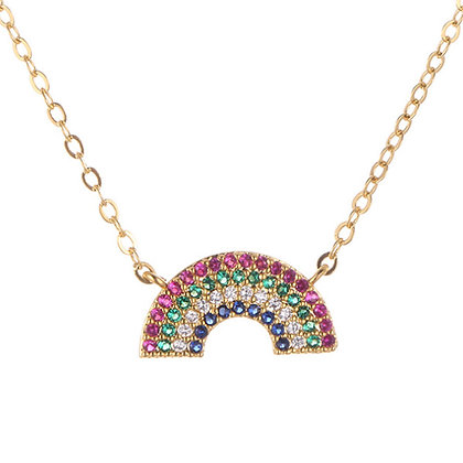 Rainbow Necklace in Gold