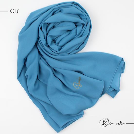 Châle en Crepe Premium - Bleu acier