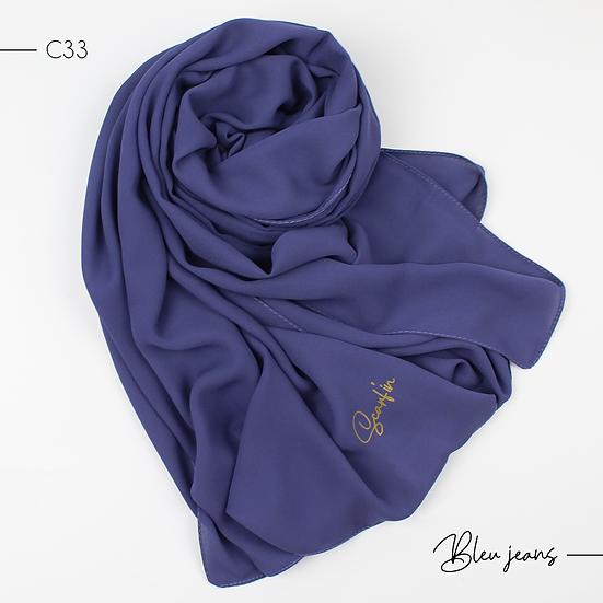 Châle en crêpe premium - Bleu jeans