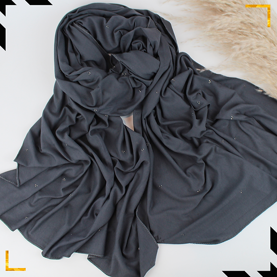 Châle en coton jersey orné de cristaux - Gris anthracite