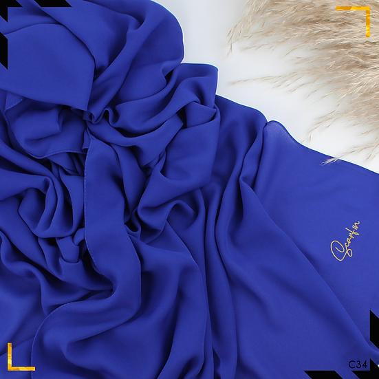 Châle en crêpe premium - Bleu royal