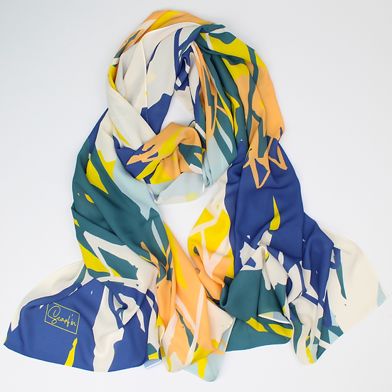 "Châle ""Mounty"" - Orange, bleu canard, jaune et bleu"