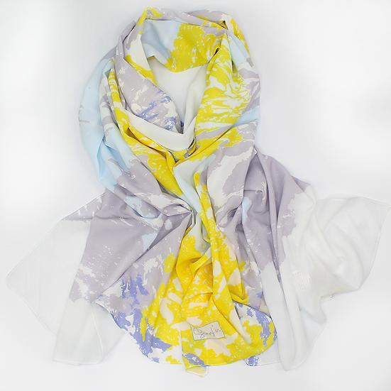 """Châle """"Cloudas"""" - Gris, jaune et bleu ciel"""