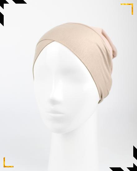 Bonnet underscarf croisé - Beige sable
