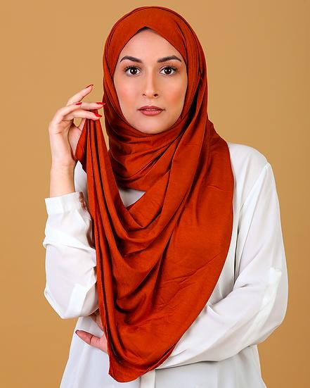 Châle en coton jersey - Orange brûlée