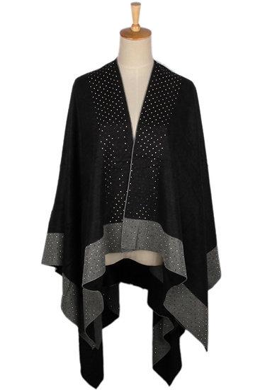 Poncho / Cape bicolore double face avec strass - Noir et gris