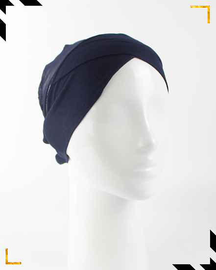 Bonnet underscarf croisé - Bleu marine
