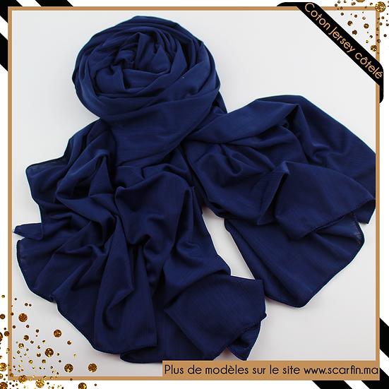 Châle en jersey côtelé - Bleu marine