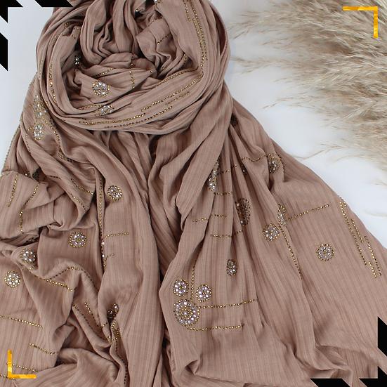 Châle en coton jersey orné de cristaux - Nude