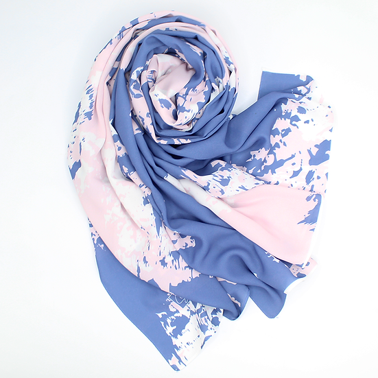 """Châle """"Tricy"""" - Bleu jeans et rose bébé"""