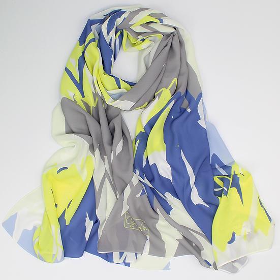 """Châle """"Mounty"""" - Jaune fluo, Bleu et gris"""