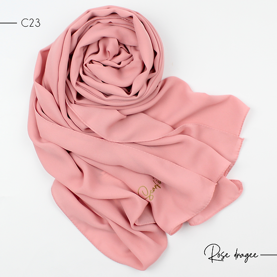 Châle en Crêpe Premium - Rose dragée