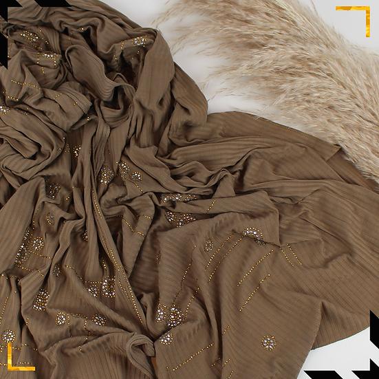 Châle en coton jersey orné de cristaux - Chatain