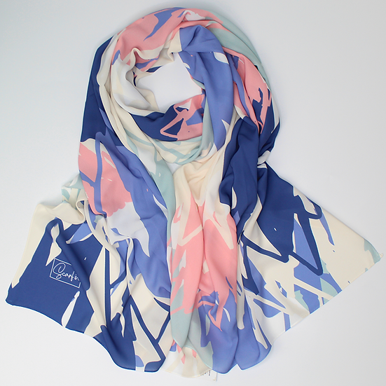 "Châle ""Mounty"" - Bleu, vert pastel, rose et beige"