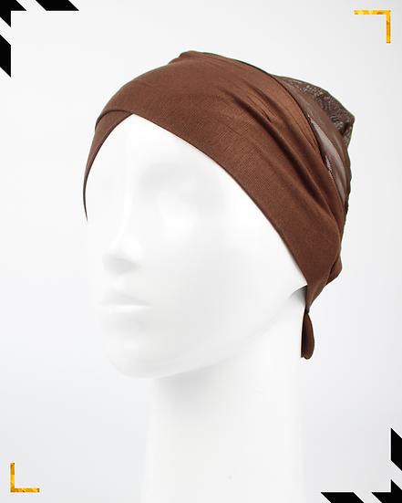 Bonnet underscarf croisé - Marron