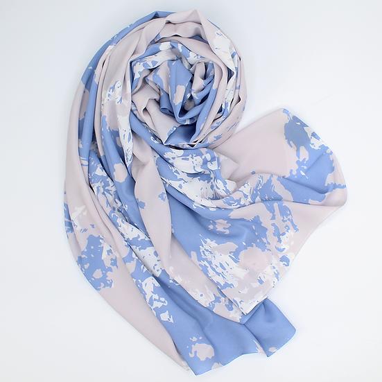 """Châle """"Tricy"""" - Bleu jeans et greige"""