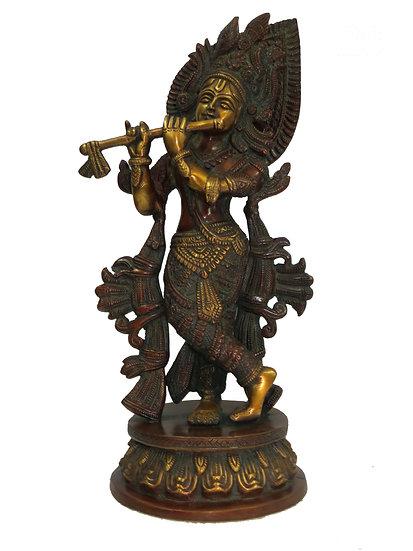 Brass Krishna Statue (33cm/3.3kg)